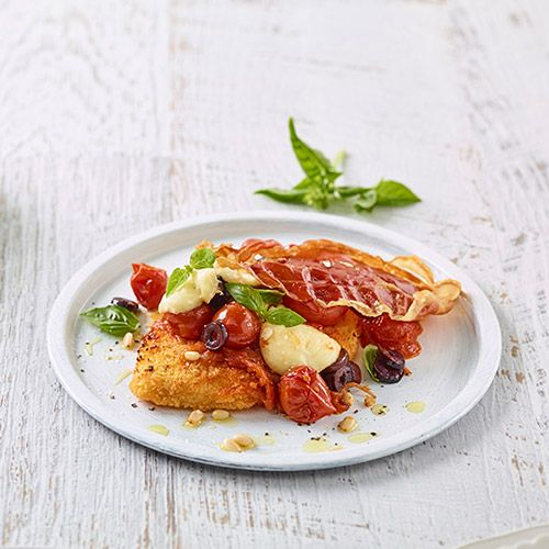 Chicken Breast Schnitzel Parmigiana With Olive, Basil And Pine Nut Salsa - Ingham's Chicken