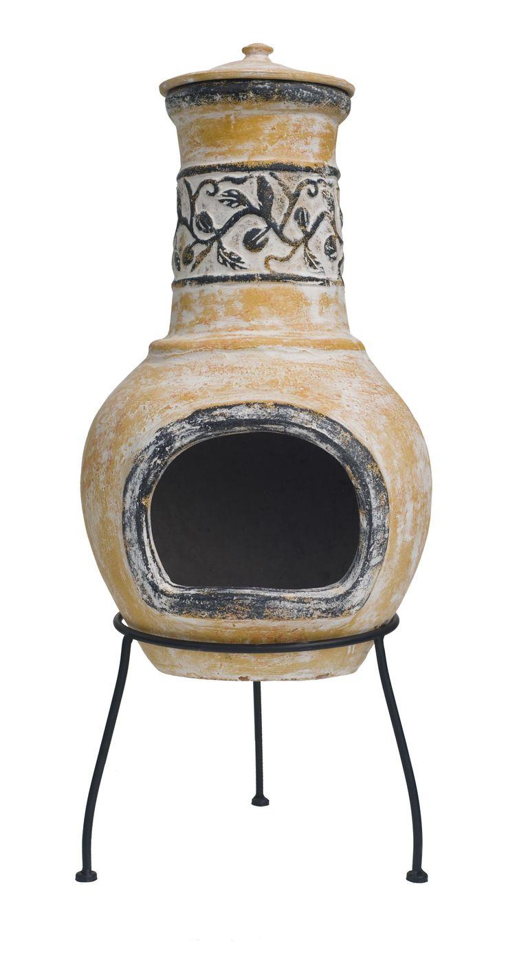 De OutTrade #Chimena Tampico tuinhaard is een Chinese tuinhaard van keramiek. De Chimena Tampico #tuinhaard wordt geleverd inclusief standaard zodat deze stabiel staat.  Door de isolerende werking van deze stenen chimenea/terrashaard, kunt u met weinig hout toch lekker warm stoken. U kunt de mond richten naar waar u de warmte nodig heeft.