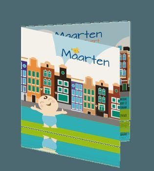 Geboortekaartje jongen amsterdam cartoon getekende grachtenpanden