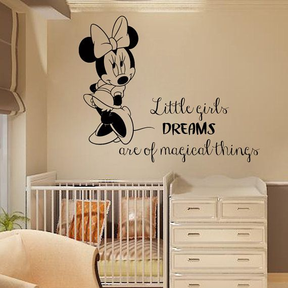 Wall Decals For Baby Girl Nursery Mouse Quote Little Girls Dreams Are Of Magical Things Decal Home Vinyl Decal Sticker Kids Room Decor kk310