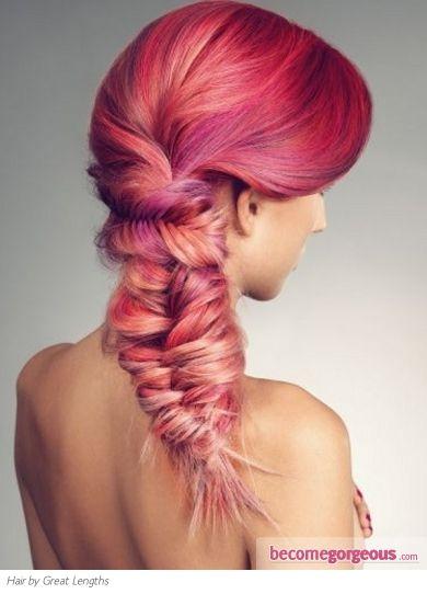 Reddish pinkish orangish braid