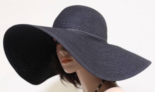 B009-New-Sexy-Classy-Summer-Sun-Beach-Floppy-6-Wide-Brim-Derby-Church-Hat-Black