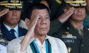 Duterte's drug war in the Philippines is out of control, he needs to be stopped  Philippine president Rodrigo Duterte salutes with other military officers during a anniversary celebration of the Armed Forces.