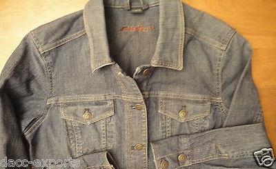 Eddie Bauer jean jacket. Features an indigo blue wash, with button front, button pockets, & button cuffs.    $17.80