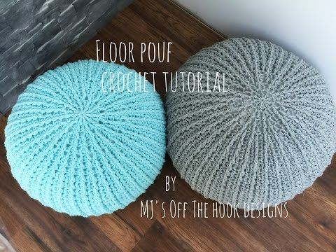 VERY EASY crochet pouf tutorial - crochet cushion / foot stool/ floor cushion / pouf / ottoman - YouTube