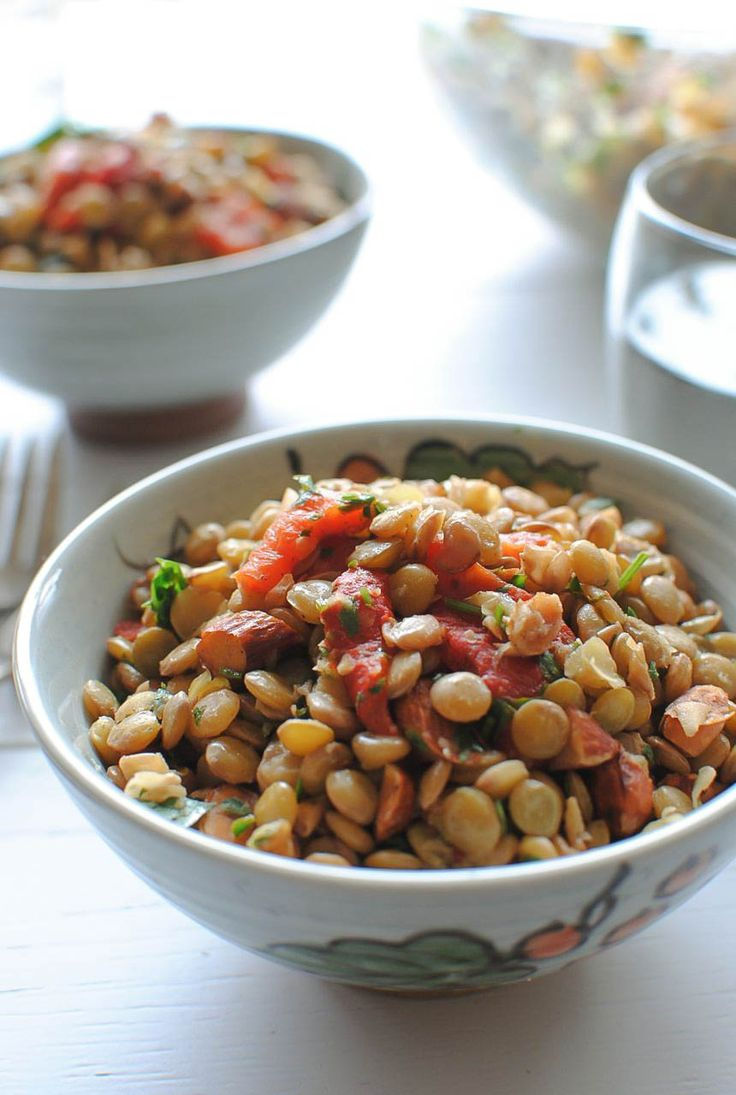 Warm Lentil Salad with Roasted Red Peppers, Parsley and Almonds // Bev Cooks