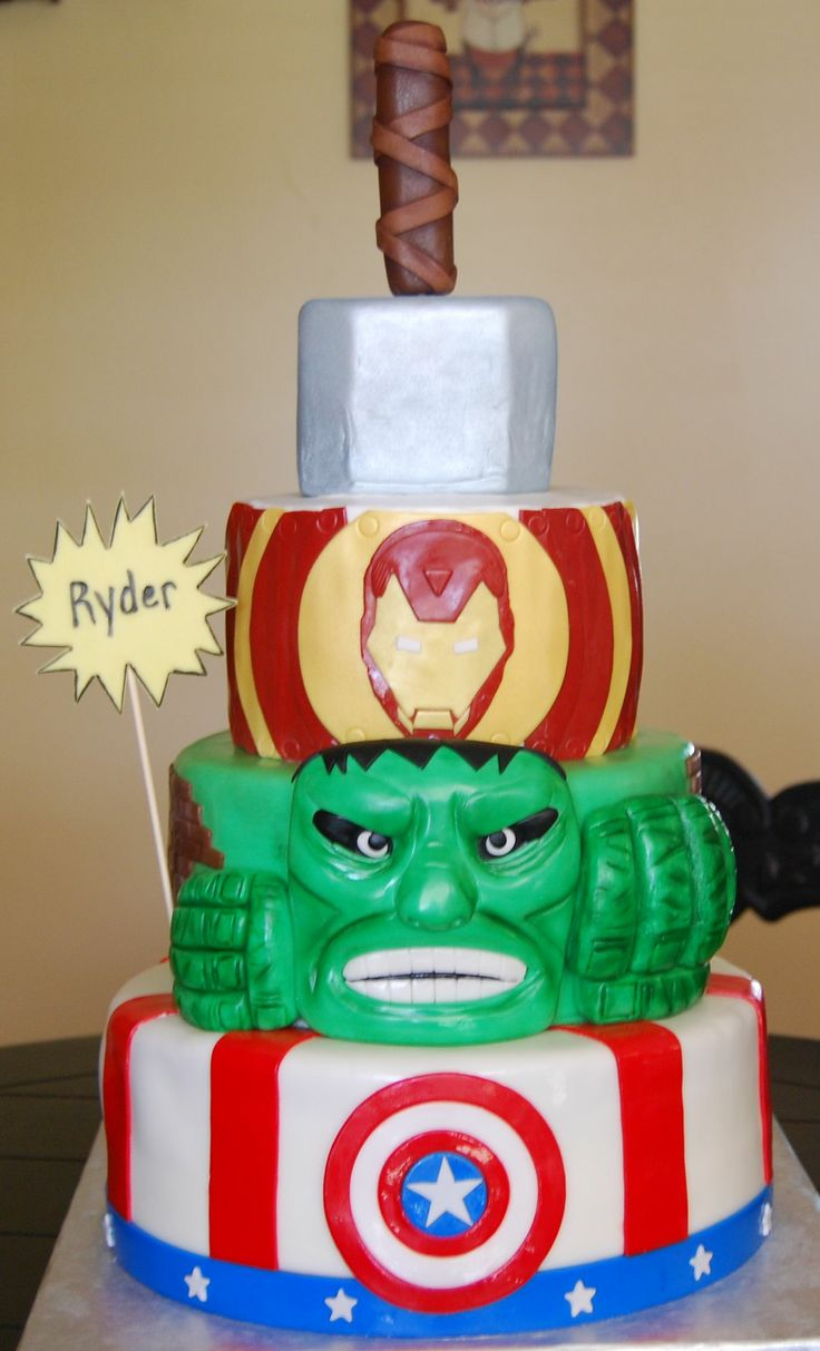 Avengers Birthday Cake...the boys would live this cake!