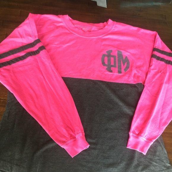 Phi Mu Billboard Long-Sleeve Shirt Pink and dark gray billboard Phi Mu shirt (long-sleeve).  Size Large and runs big.  Only worn once! Tops Tees - Long Sleeve