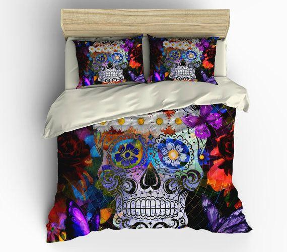 Sugar Skull Bedding Sugar Skull Duvet Cover Set Comforter Cover Mosaic Abstract Skull