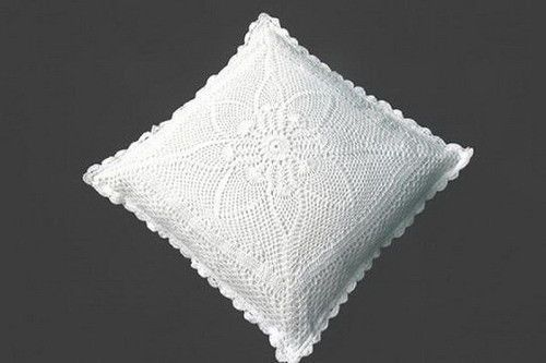 Hand crochet lace pillow sham in white and ECRU