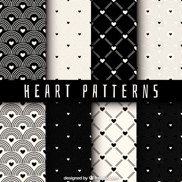 Hearts pattern collection Free Vector