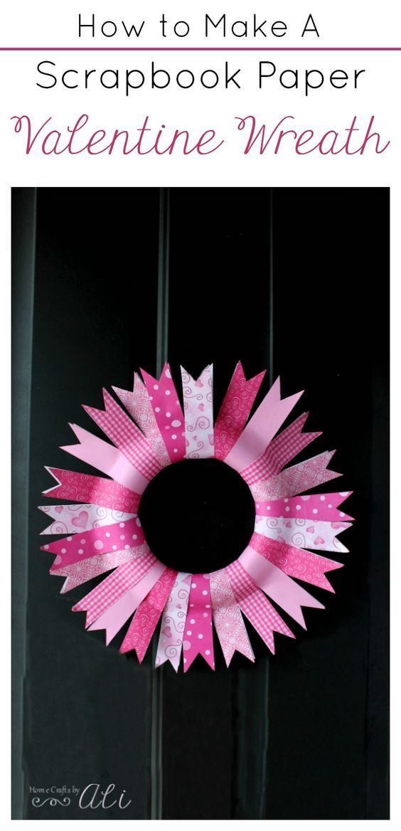 How To Make A Scrapbook Paper Valentine Wreath - Follow this simple tutorial to make a pretty Valentine Decor piece for your door.
