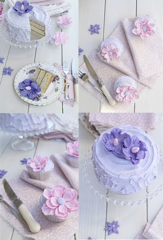 My Lovely Food: Tarta layer cake de vainilla con Buttercream de violetas