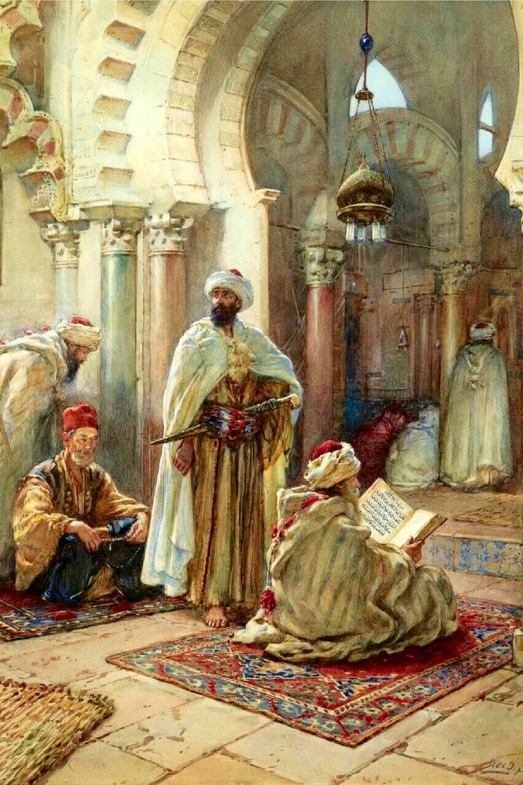 Prayer at the Mosque. Mid 1800s. Apparently North Africa but caption doesn't say which country. Artist: Giuseppe Carosi, watercolor on paper