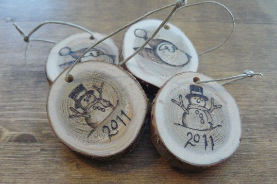 4 personalized cedar Christmas ornaments wood burnt by IgnitedArt love these