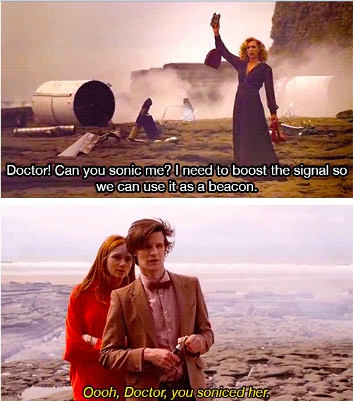 The Time of Angels: Series 5 Episode 4 | first broadcast on BBC One on April 24, 2010: begining of a two episode story that ends with Flesh and Stone: writen by Steven Moffat | River Song (Alex Kingston), Amy Pond (Karen Gillan) and The Doctor (Matt Smith)
