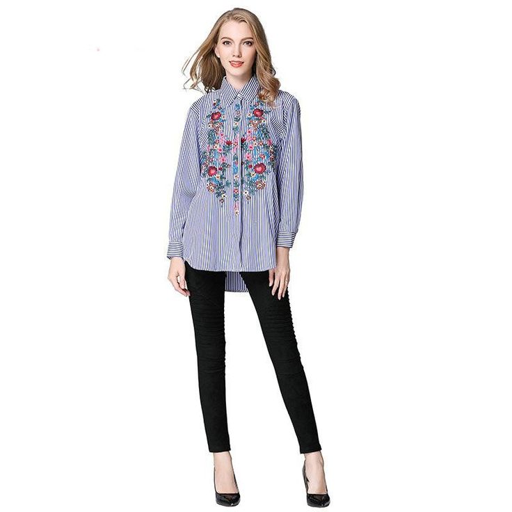 Floral Embroidery Blue White Striped Blouse, Tops & Blouses, shopboldlyher