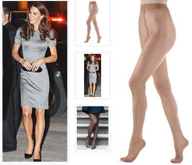 """Kate's favorite hosiery:  """"'Jade Sheer 20 Denier' tights (Jade is the style name, not color), they are available for $ 24 at Fresh Pair, where they are described as """"Favored hosiery brand of Her Royal Highness Kate Middleton, Duchess of Cambridge""""."""""""