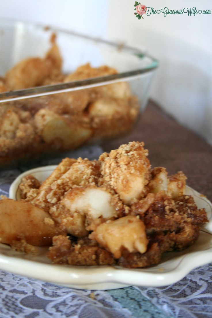 Apple Brown Betty- A simple but delicious apple dessert recipe.  Perfect for fall and a fast dish for family gatherings!