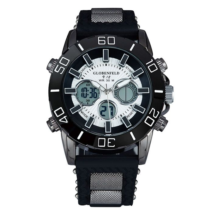 Globenfeld V12 with elegant Globenfeld metal case. Sport timepiece with black metal case.