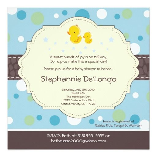 407 best duck birthday party invitations images on pinterest 5x5 boy rubber duck duckie baby shower invitation stopboris Images