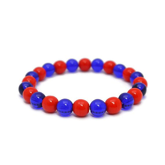 Basketball team spirit bracelets in Blue and Orange or your favorite team colors.  On Etsy from #TeamColorsByCarrie