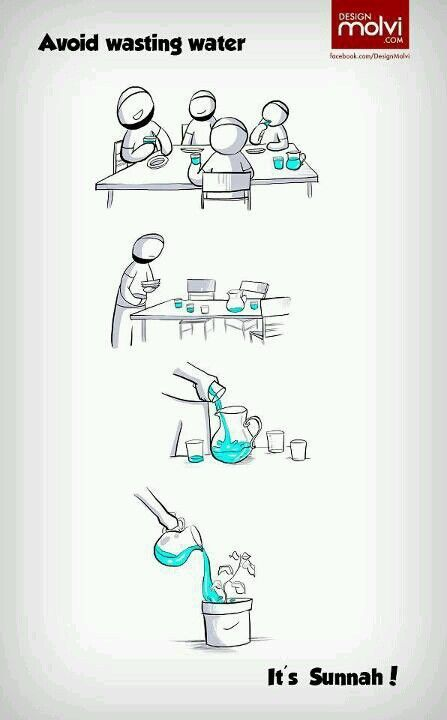 Avoid wasting water. It is sunnah! https://www.pinterest.com/pin/419749627739933335/