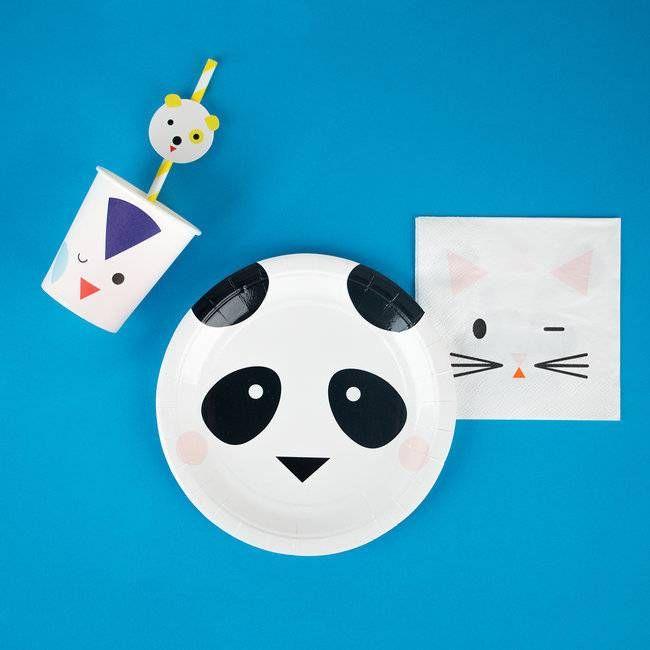 Beestenboel (Mini Animals) Servetjes, 20 stuks   Hieppp - Hieppp    Feestartikelen panda, hond, penguin en poes