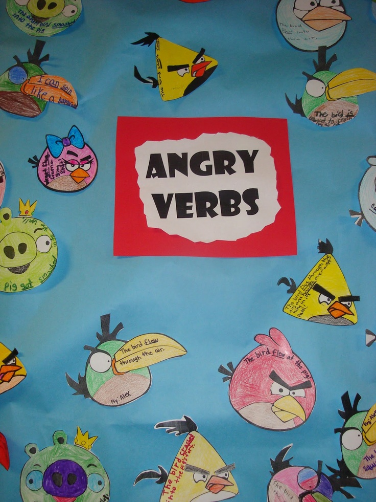 Angry verbs board - teaching kids about verbs!--!