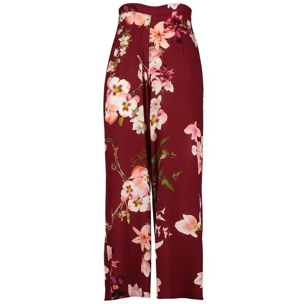 Plus Yana Oriental Print Wide Leg Trouser ($30) ❤ liked on Polyvore featuring pants, wide leg trousers, wide leg print pants, red wide leg pants, patterned trousers and red pants