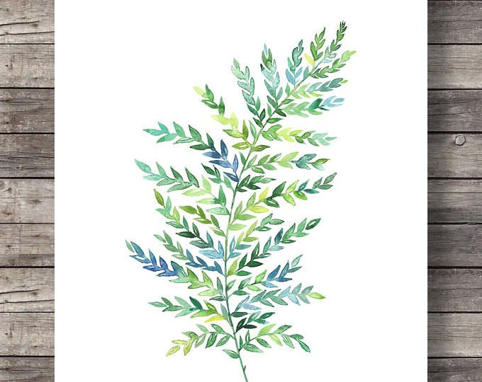 Green Watercolor Fern Print Printable Art Hand Painted Fern