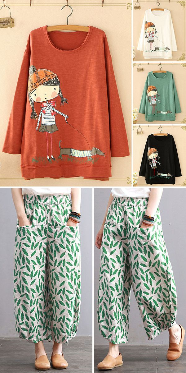 Women's Outfits #springskirtsoutfits O-neck cartoon print long sleeve casual Sweatshirts and Spring pants for women. Up to 70% off! Shop now! #cartoon #cute #spring #outfits