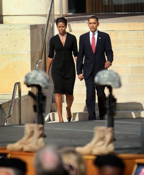 #44th #President Of The United States Commander In Chief #BarackObama #FirstLady Of The United States #MichelleObama arrive for a memorial service for the thirteen victims of the shooting rampage by U.S. Army Major Nidal Malik Hasan on November 10, 2009 in Fort Hood, Texas. Hasan, an army psychiatrist, killed 13 people and wounded 30 in a shooting at the military base on November 5, 2009. - President Obama Attends Memorial Service At Ft. Hood For Shooting Victims