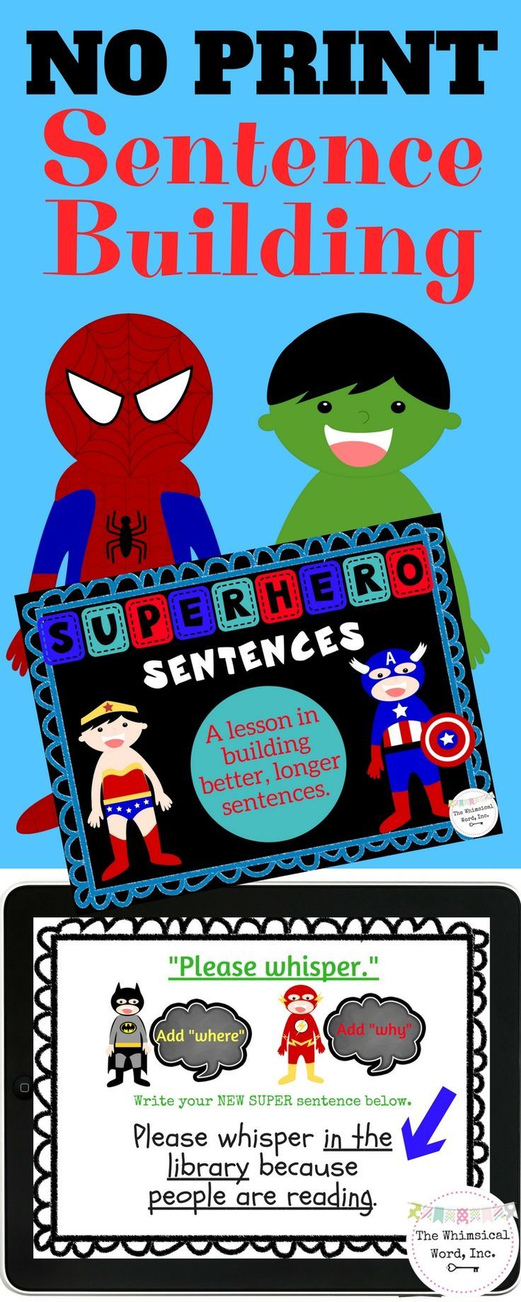Build sentences with adjectives and conjunctions with a little help from some SUPER friends.  NO PRINT and NO PREP speech therapy.
