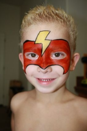 Face Painting For Boys Superhero Face painting by cynnamon Wrong bolt (if flash) but other than that design is good