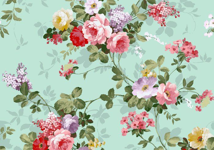 Beautiful Vintage Pink And Red Roses Textile Vector Background Free