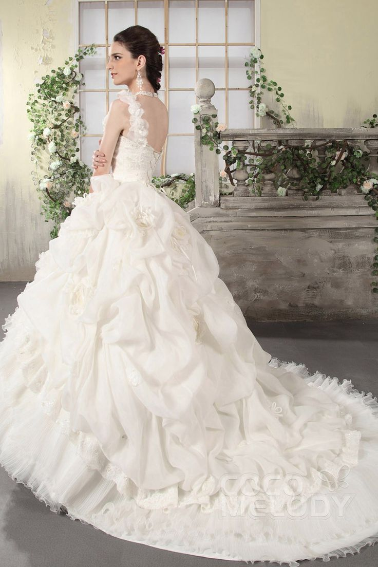 Elegant New Style Ball Gown One Shoulder Chapel Train Organza Wedding Dress CWJT