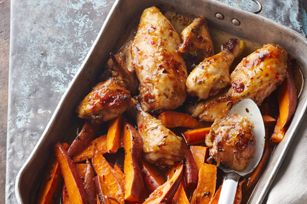 One-Pan Baked Chicken and Sweet Potatoes recipe - This TASTY recipe is sure to become a family favourite in no time!  Try serving with your favourite hot steamed vegetable to round out the meal.  #chickenrecipes