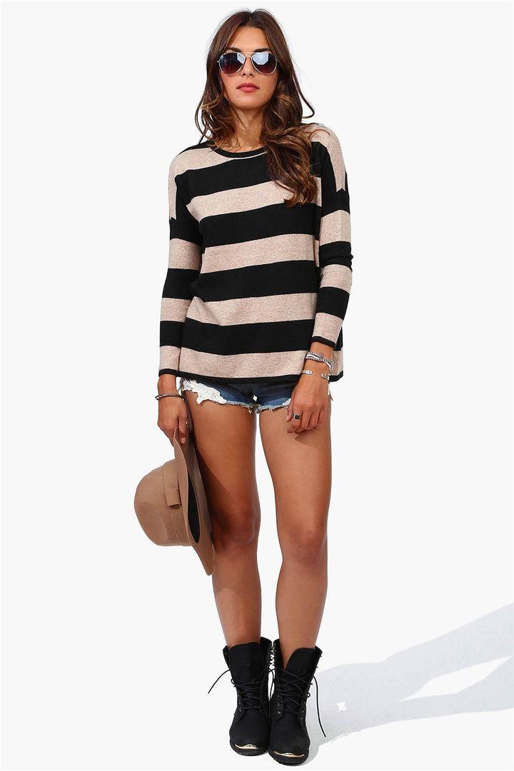 Nautical Striped Sweater in Camel