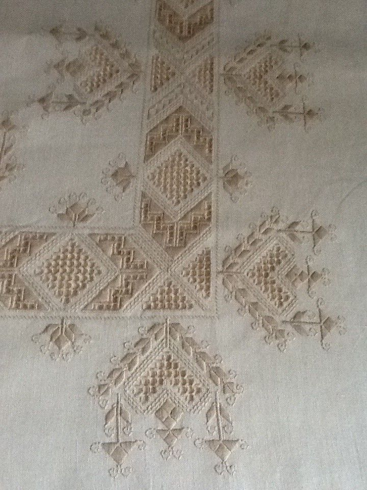 Hardanger and drawn thread piece of needlework. Very pretty!