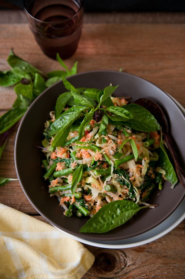 Indonesian Steamed Vegetable Salad with Spicy Coconut Dressing.