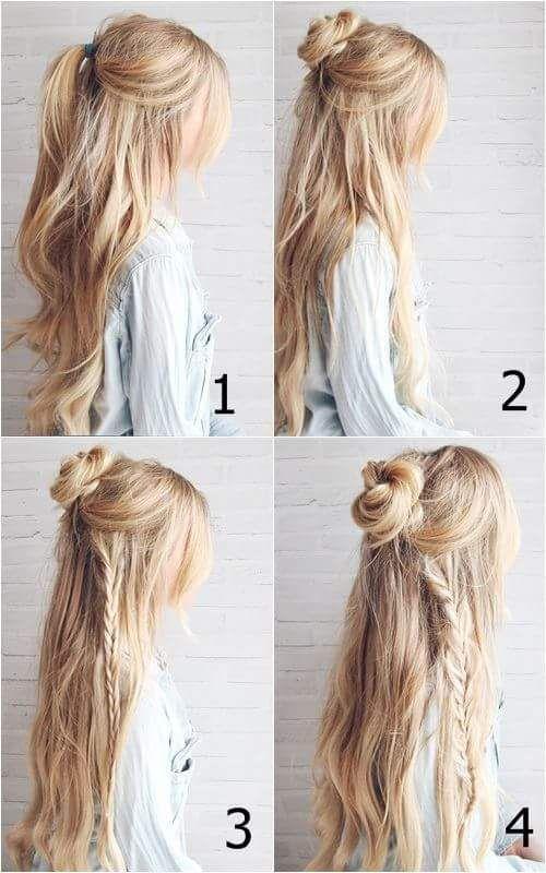 Einfaches Brötchen und geflochtene Frisur für offenes Haar #Bohohairstyles #Frisuren #Longhai