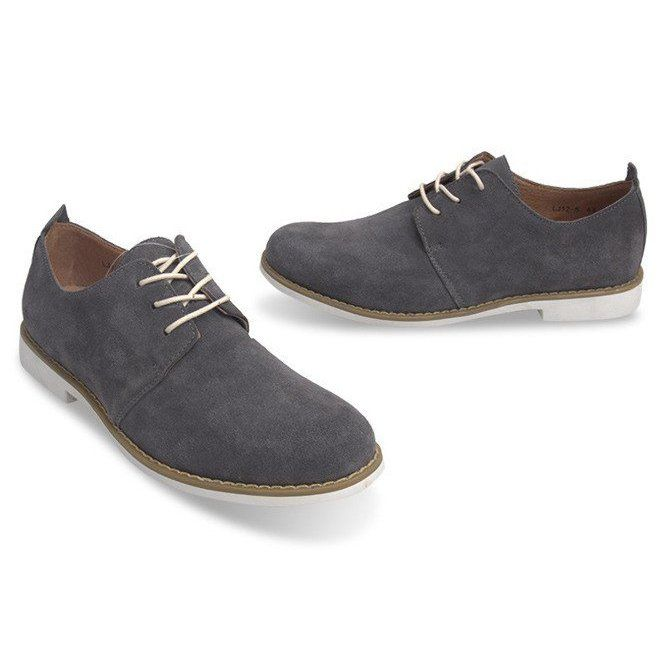 Sznurowane Polbuty Skorzane Lj12 Szary Szare Dress Shoes Men Shoes Leather Shoes
