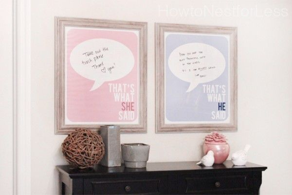 His and Hers Dry Erase Love Notes Station.  FREE printable too!