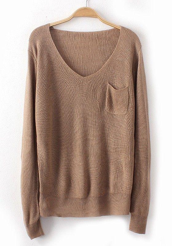 Camel Plain Pockets Long Sleeve Sweater