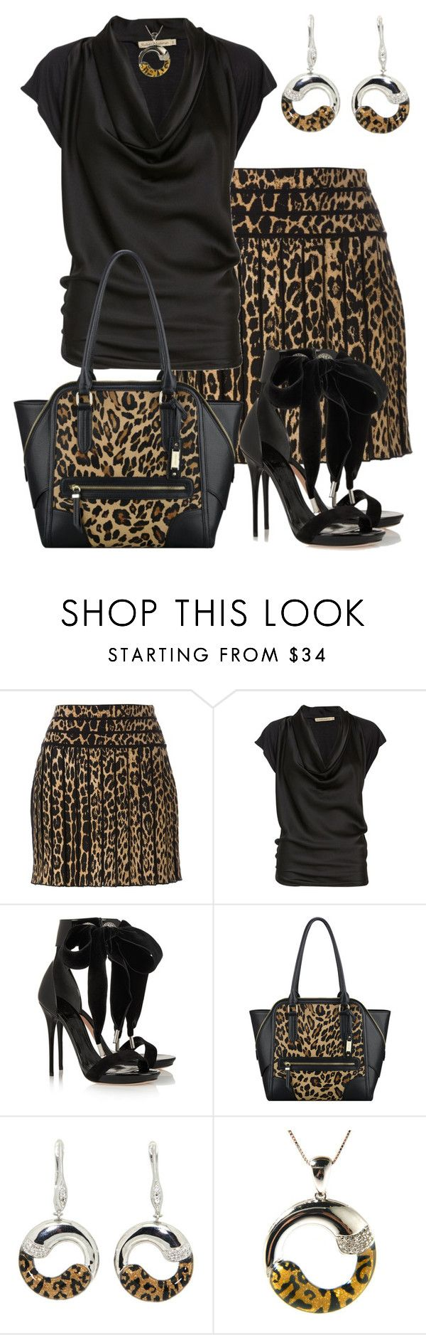 """""""Animal Print"""" by marisol-menahem ❤ liked on Polyvore featuring Roberto Cavalli, Rabens Saloner, Alexander McQueen, Nine West and Pearlz Ocean"""