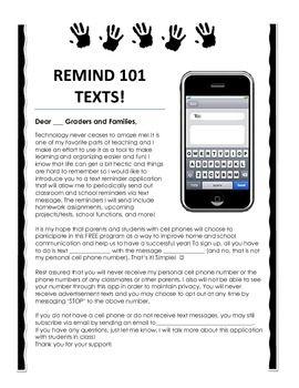 Remind 101 Parent Information Letter general classroom