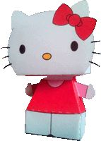Bouwplaten knutselen: hello-kitty