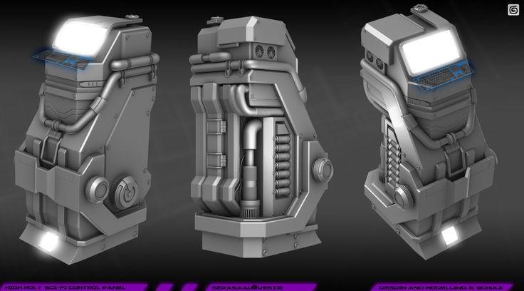 Sci Fi Control Levers : High poly control panel by sickbert viantart on
