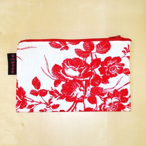 Rose Red Zippered Clutch - Mookie Designs